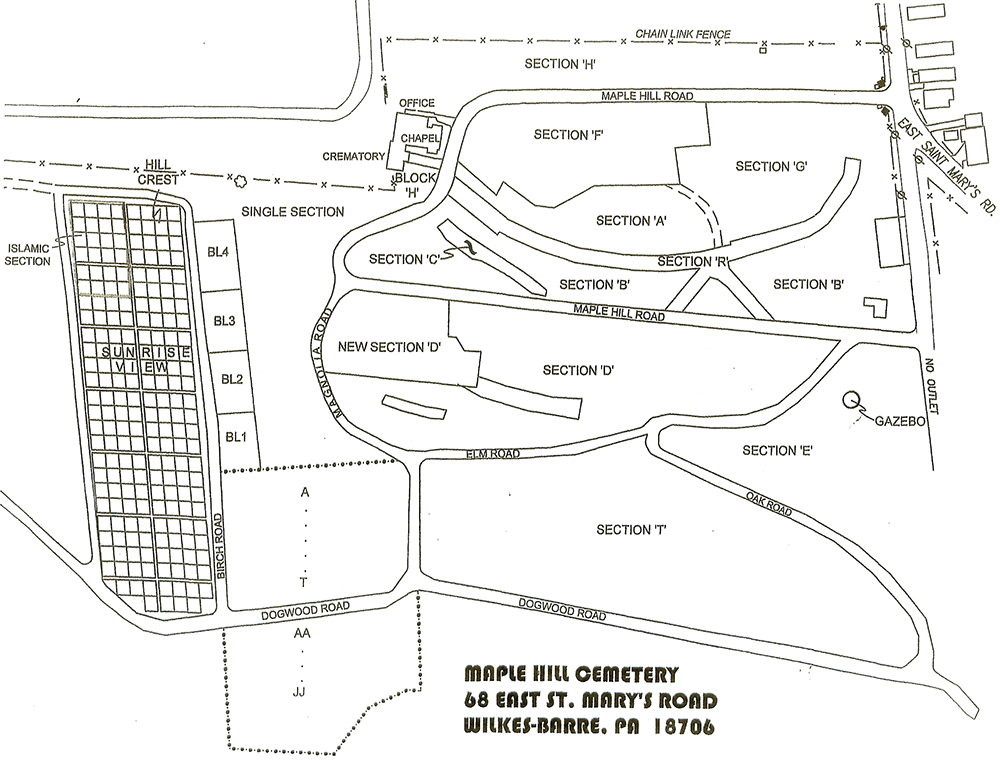 Maple Hill Cemetery map